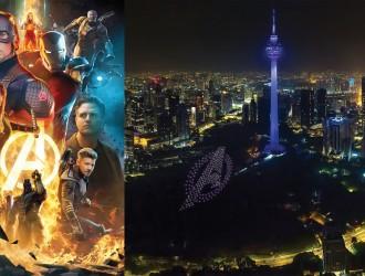 喜迎 Avengers 4 首映 300 无人机夜空中拼标志