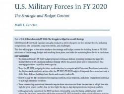 CSIS報告:2020財年美國軍力——戰略和預算背景
