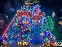 无人机航拍圣诞节装饰